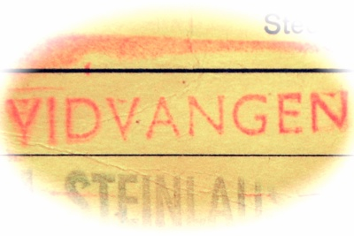 Vidvangen - stempel fr gult kort, cirka 1970.