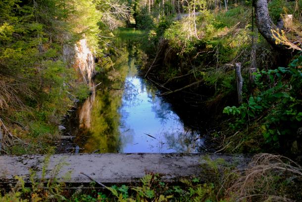 Skotta kanal gikk nordover fra Skamrek til Storflåtan. I dag ender den i en betongvegg. Foto: VESLE-BERNHARD